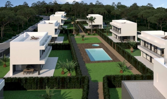 Newly built townhouses with a swimming pool in Begur