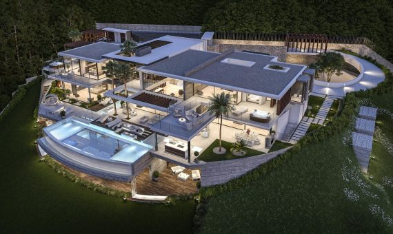 Villa in Benahavis, Marbella, 2200 m2, garden, pool, parking -
