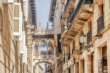Renovated building in the historic center of Barcelona - shutterstock_544196986