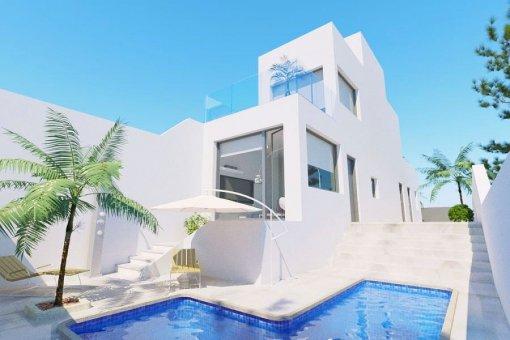 Semidetached villa in Alicante, Orihuela Costa, 117 m2, pool -